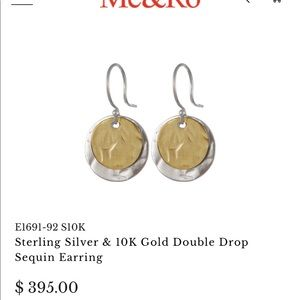 Me & Ro Double Drop Hammered Disc Earrings